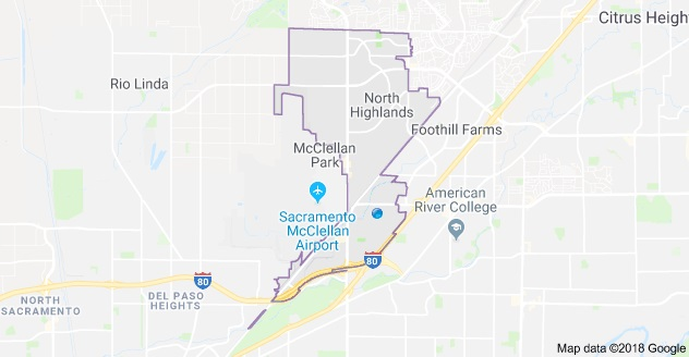 Map of North Highlands, CA Boundary